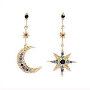 Sun & Moon earrings w/ Swavorkia Crystals on Brass